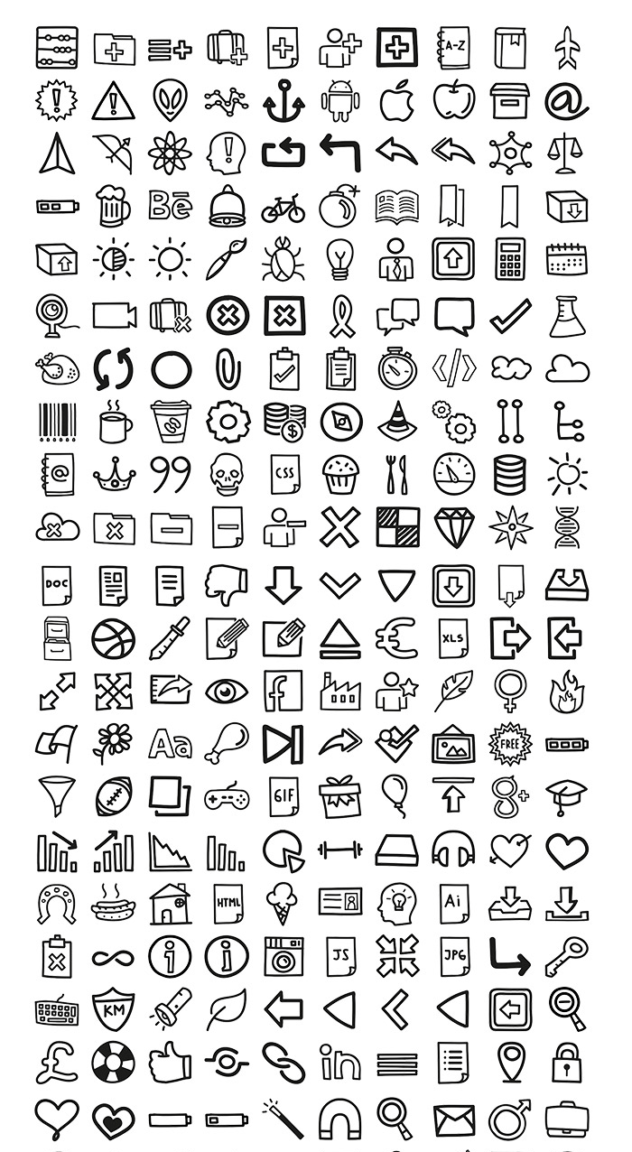 400 hand drawn icons