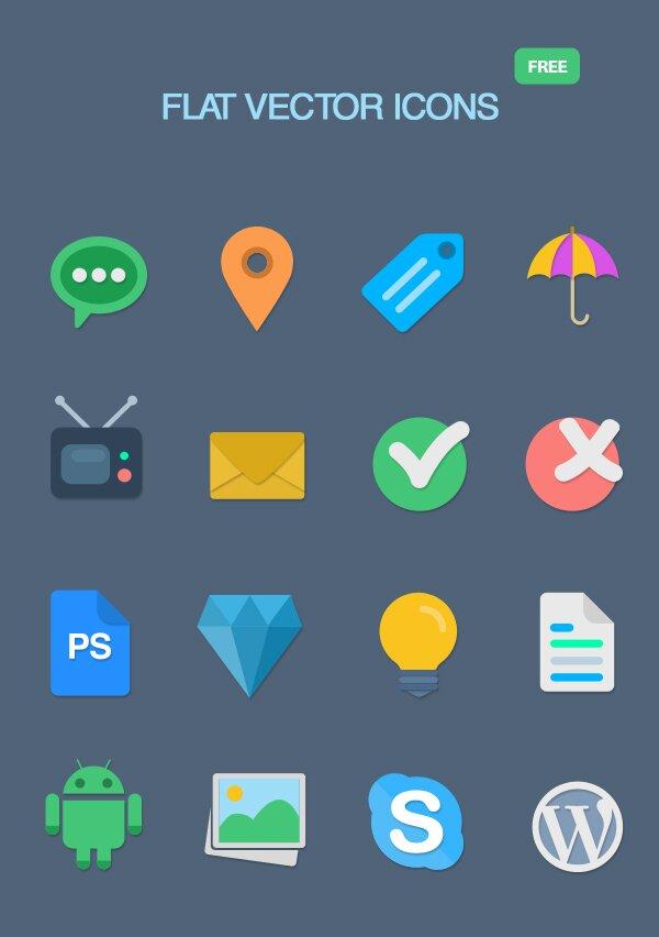 16 flat icons